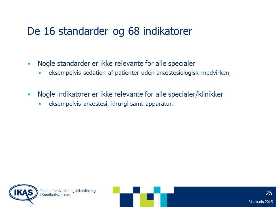 De 16 standarder og 68 indikatorer