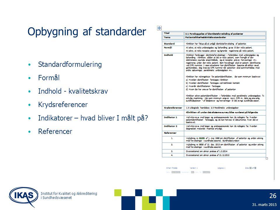 Opbygning af standarder