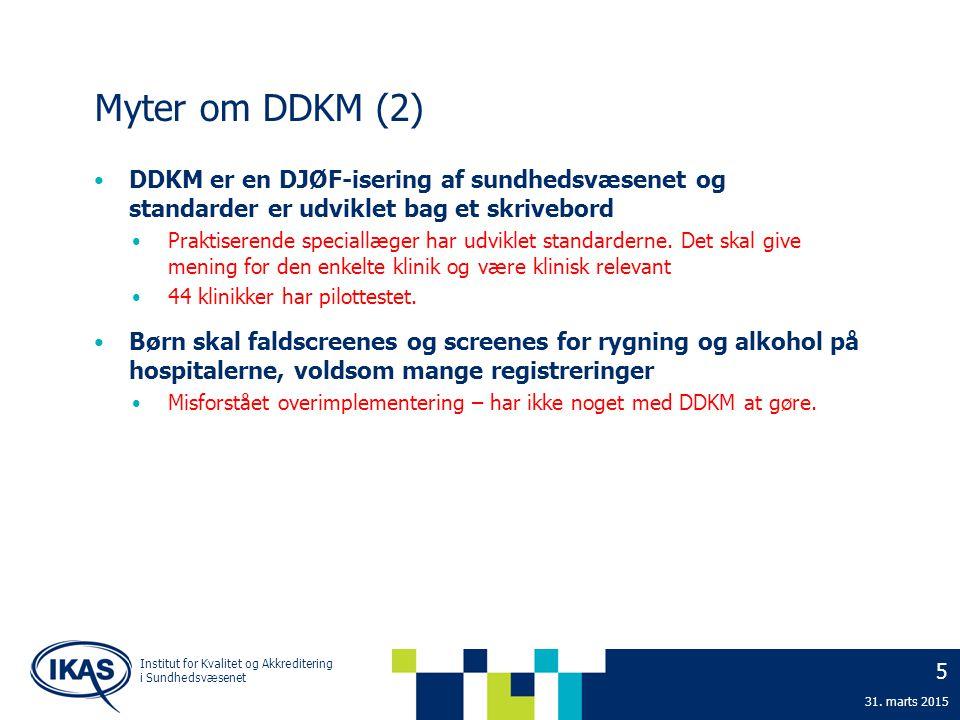 Myter om DDKM (2) DDKM er en DJØF-isering af sundhedsvæsenet og standarder er udviklet bag et skrivebord.