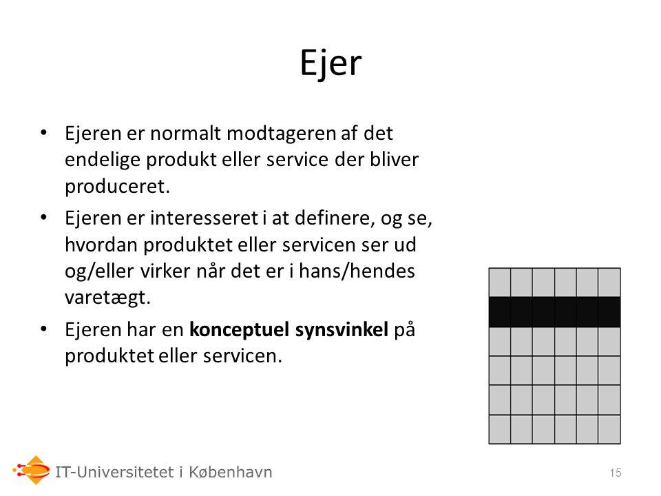 06-03-07 Ejer. Ejeren er normalt modtageren af det endelige produkt eller service der bliver produceret.
