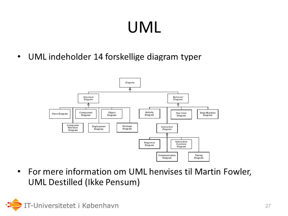 UML UML indeholder 14 forskellige diagram typer