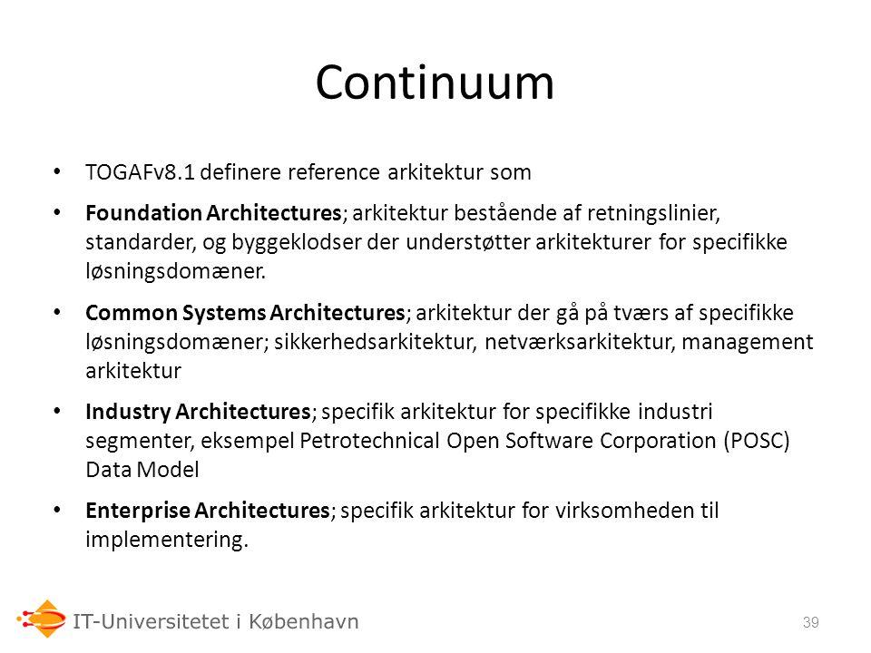 Continuum TOGAFv8.1 definere reference arkitektur som