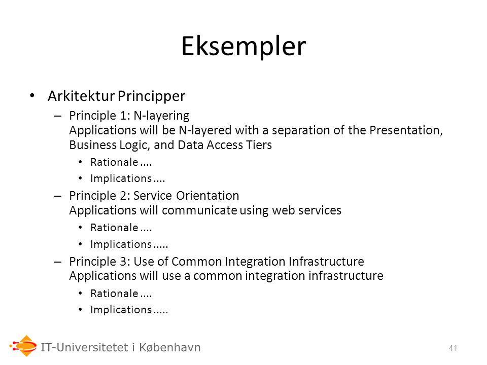 Eksempler Arkitektur Principper