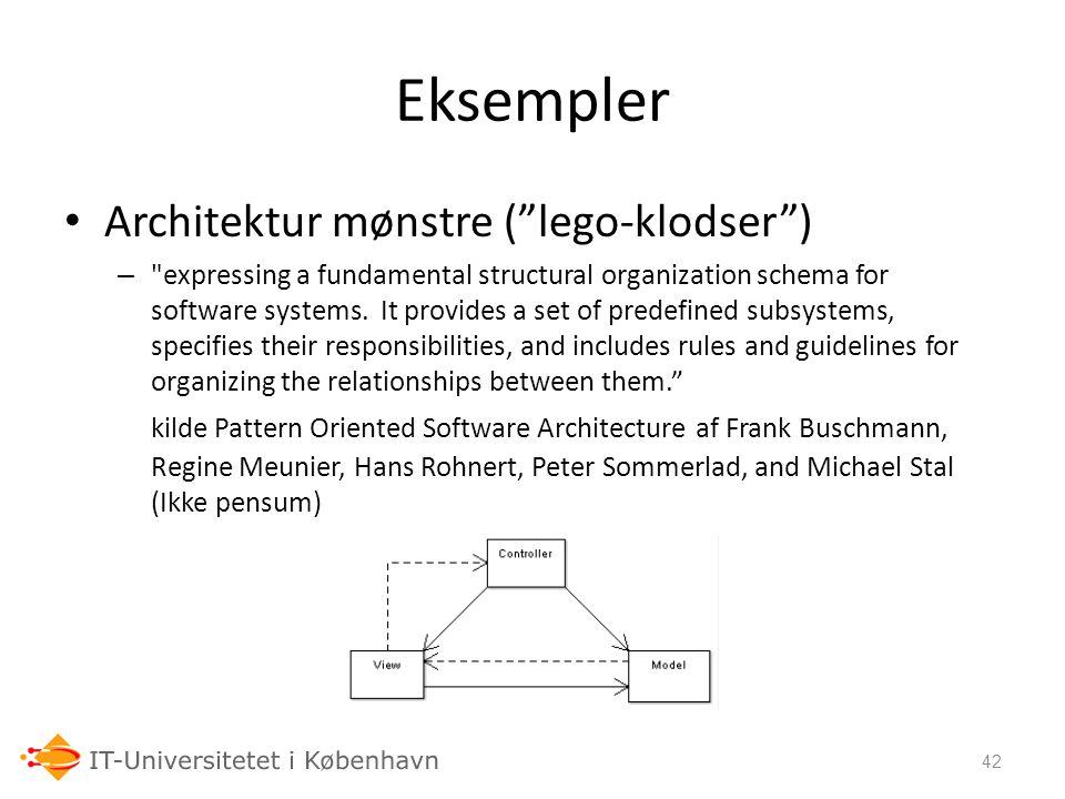 Eksempler Architektur mønstre ( lego-klodser )