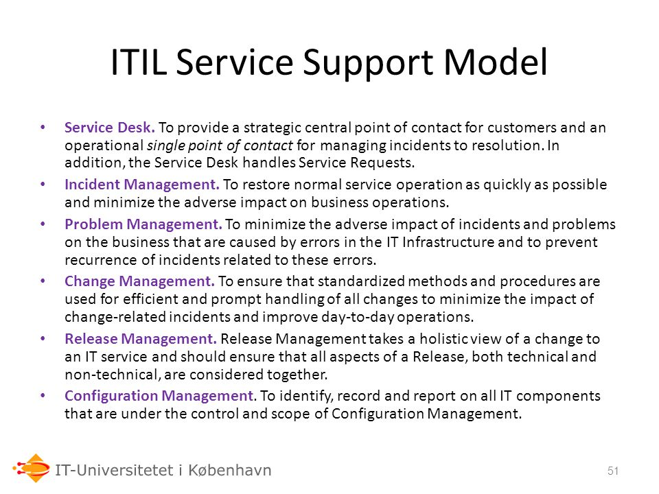 ITIL Service Support Model