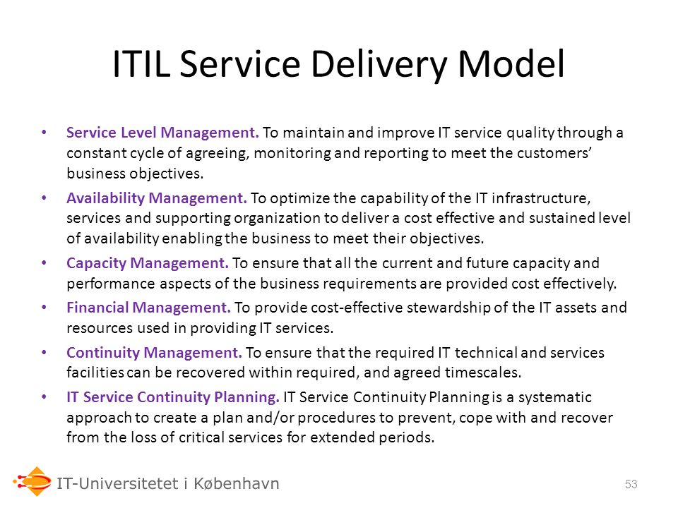 ITIL Service Delivery Model