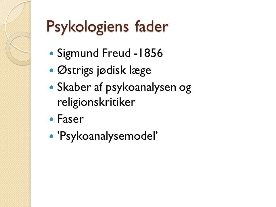 Psykologiens fader Sigmund Freud -1856 Østrigs jødisk læge