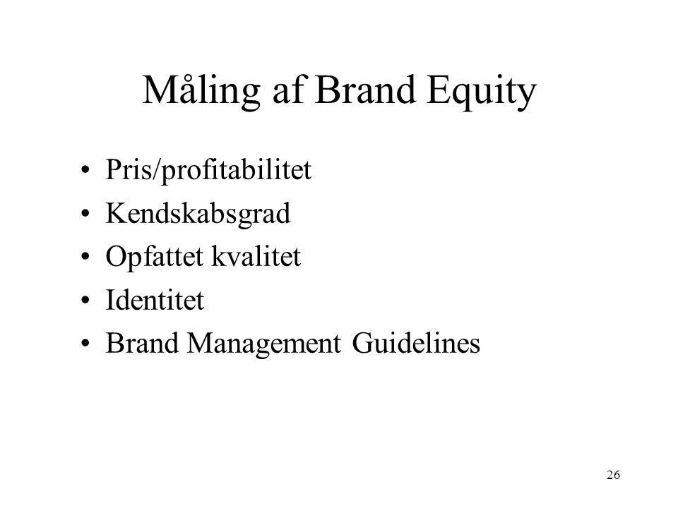 Måling af Brand Equity Pris/profitabilitet Kendskabsgrad