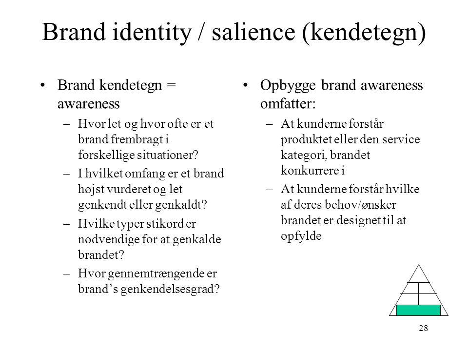 Brand identity / salience (kendetegn)