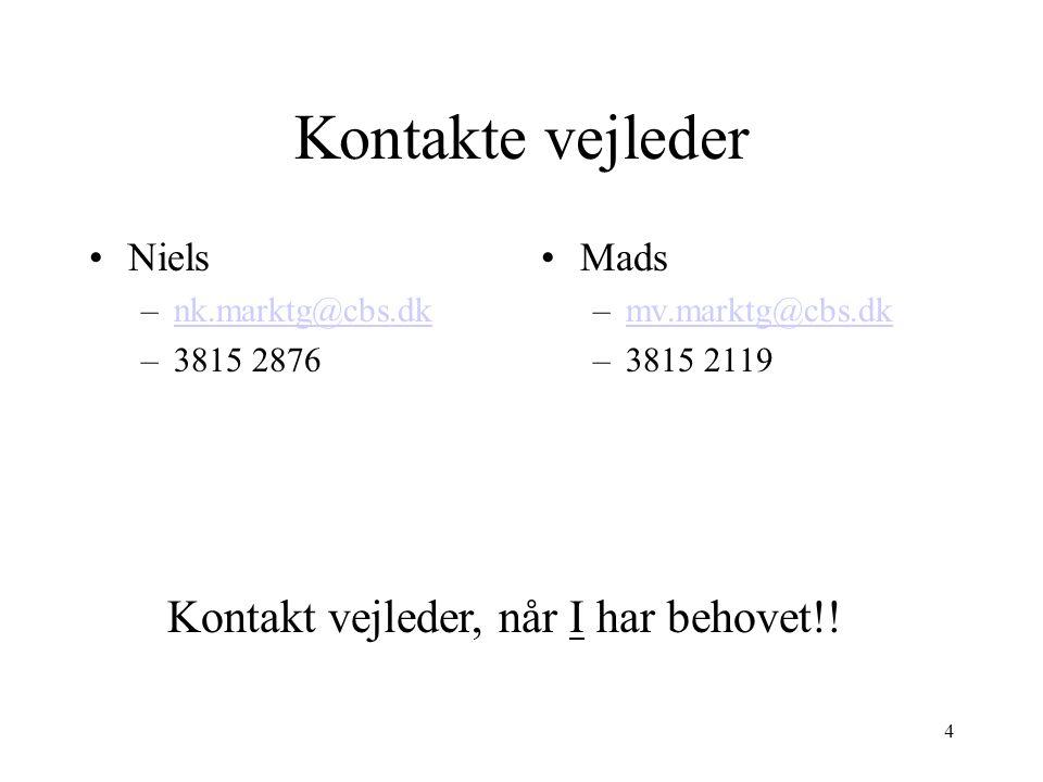 Kontakte vejleder Kontakt vejleder, når I har behovet!! Niels Mads