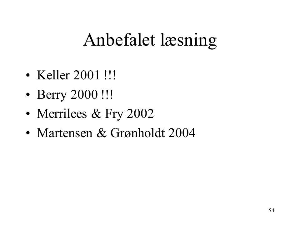 Anbefalet læsning Keller 2001 !!! Berry 2000 !!! Merrilees & Fry 2002