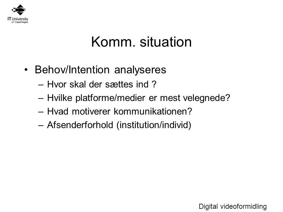 Komm. situation Behov/Intention analyseres Hvor skal der sættes ind