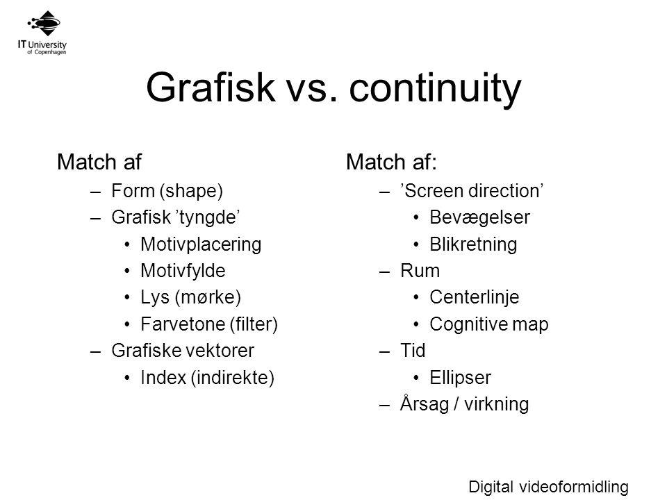 Grafisk vs. continuity Match af Match af: Form (shape)