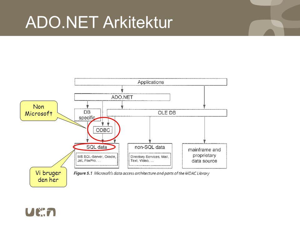 ADO.NET Arkitektur Non Microsoft Vi bruger den her
