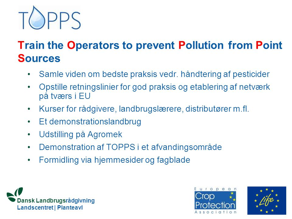 Train the Operators to prevent Pollution from Point Sources