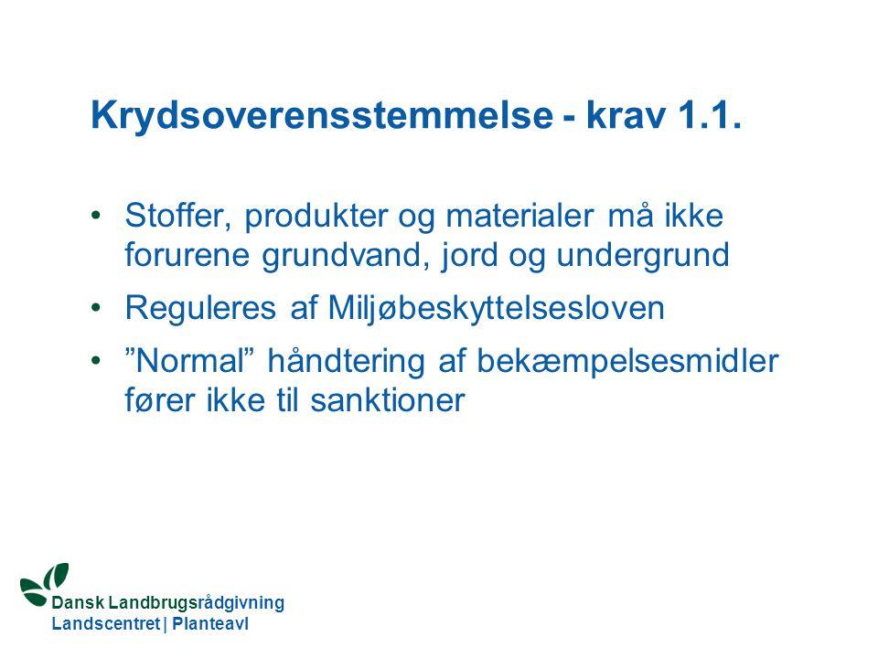 Krydsoverensstemmelse - krav 1.1.