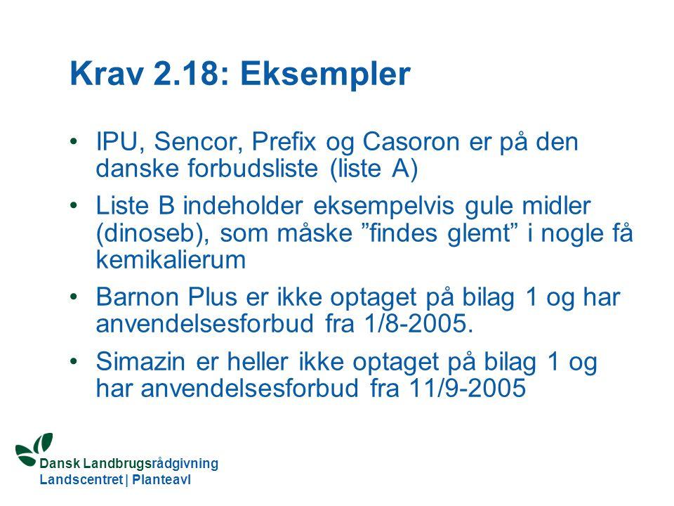 Krav 2.18: Eksempler IPU, Sencor, Prefix og Casoron er på den danske forbudsliste (liste A)
