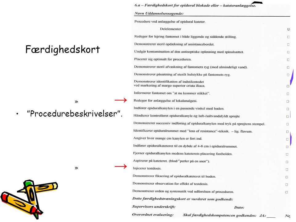 Færdighedskort → Procedurebeskrivelser .