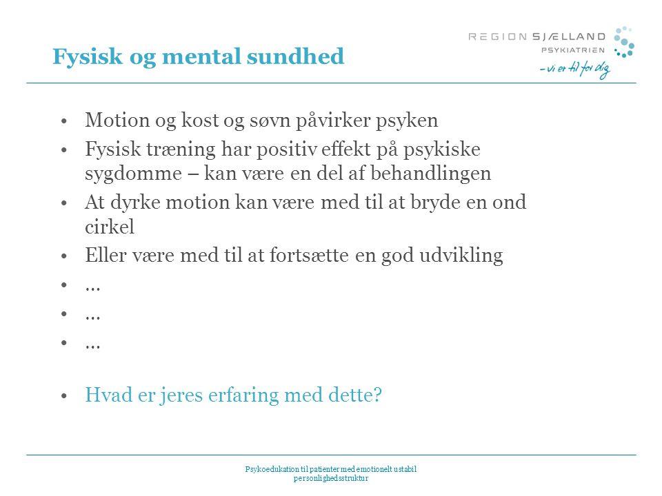 Fysisk og mental sundhed