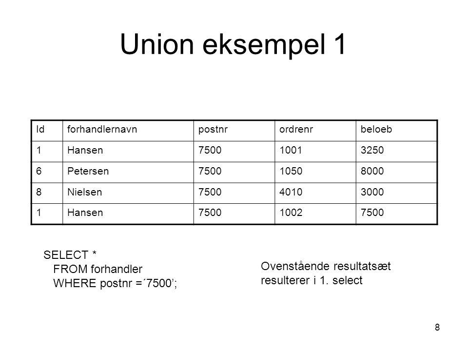 Union eksempel 1 SELECT * FROM forhandler