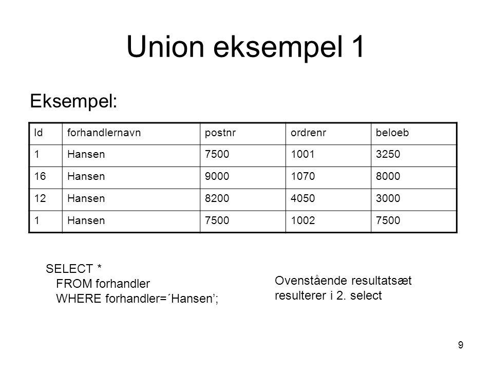 Union eksempel 1 Eksempel: SELECT * FROM forhandler