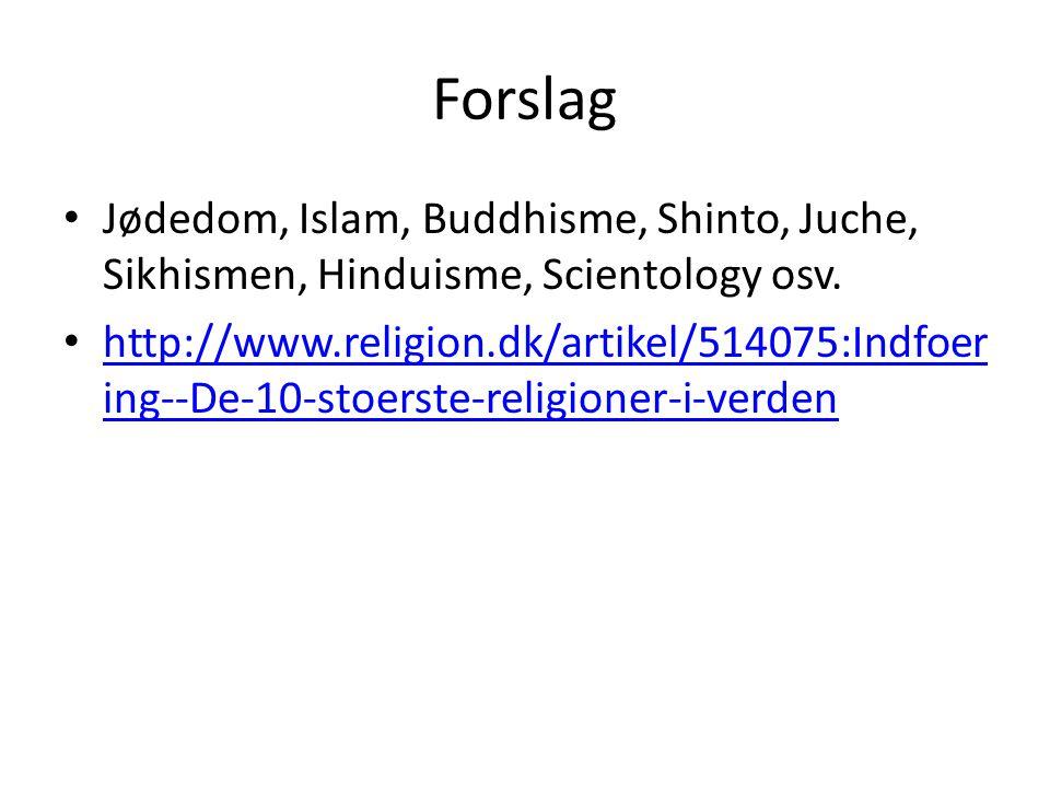 Forslag Jødedom, Islam, Buddhisme, Shinto, Juche, Sikhismen, Hinduisme, Scientology osv.