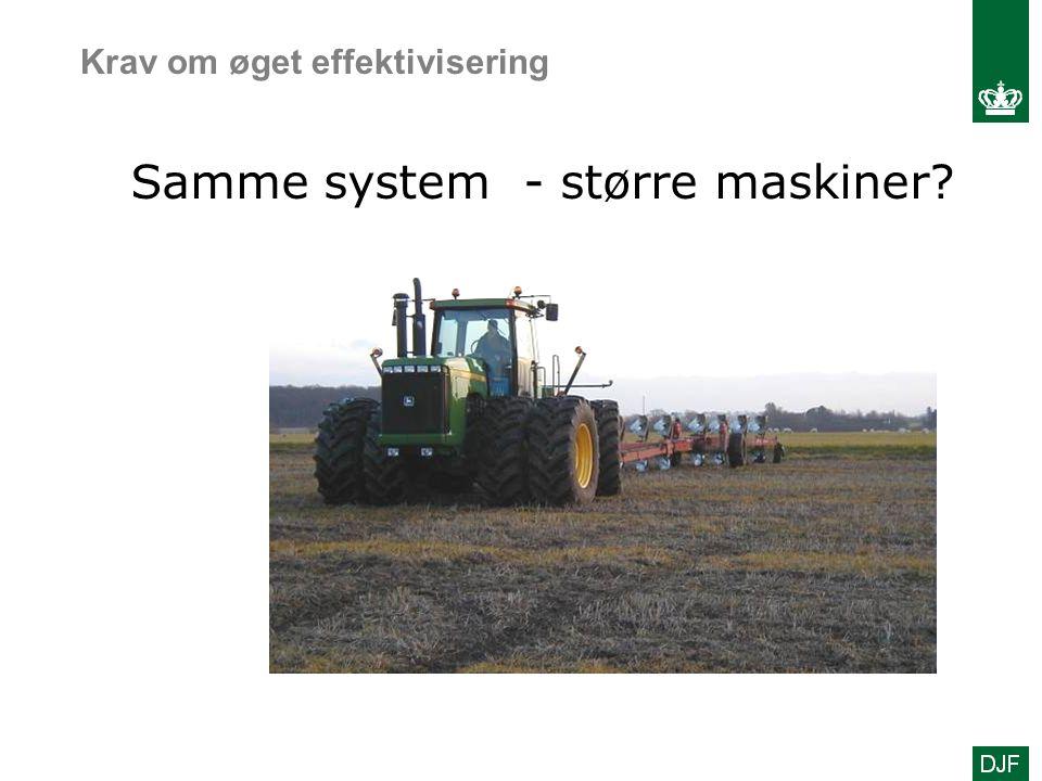 Samme system - større maskiner