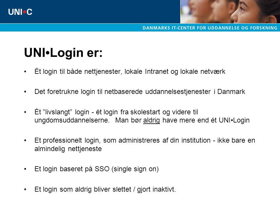 UNI•Login er: Ét login til både nettjenester, lokale Intranet og lokale netværk. Det foretrukne login til netbaserede uddannelsestjenester i Danmark.
