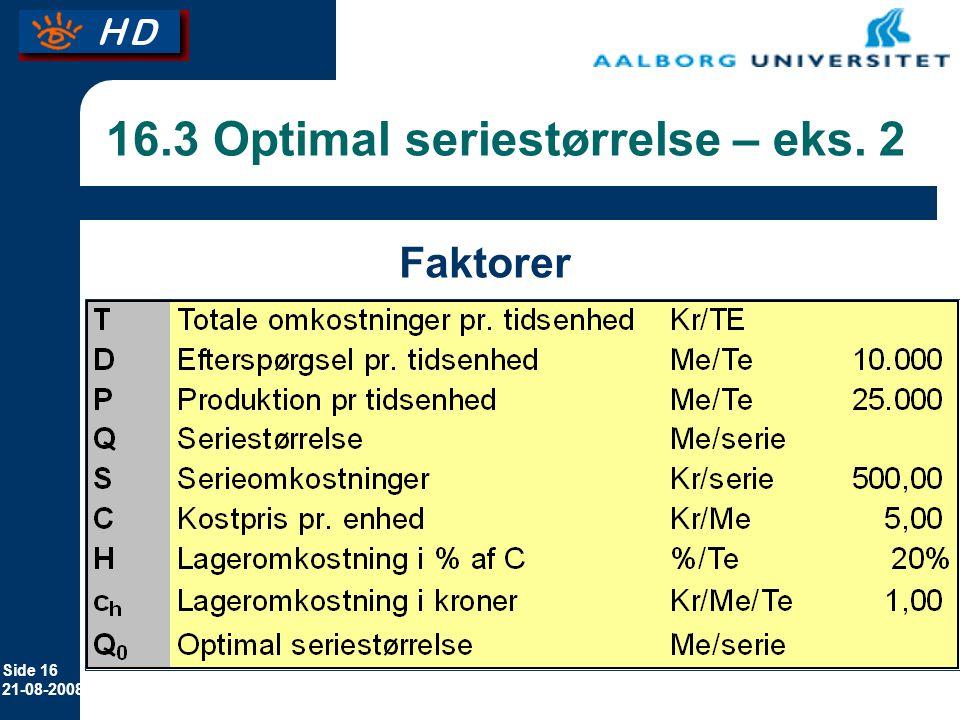 16.3 Optimal seriestørrelse – eks. 2
