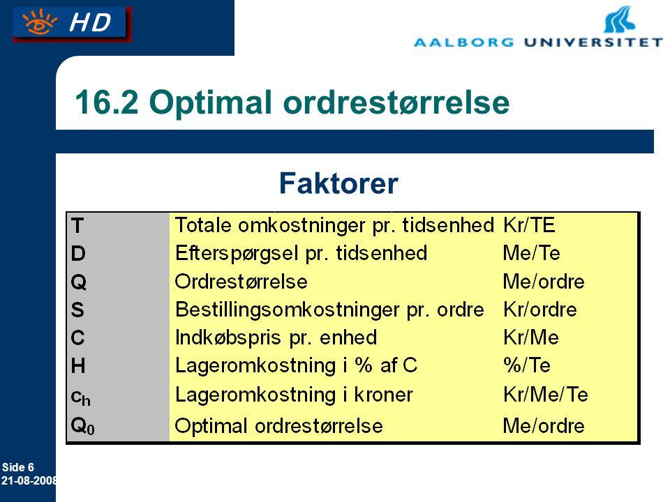 16.2 Optimal ordrestørrelse