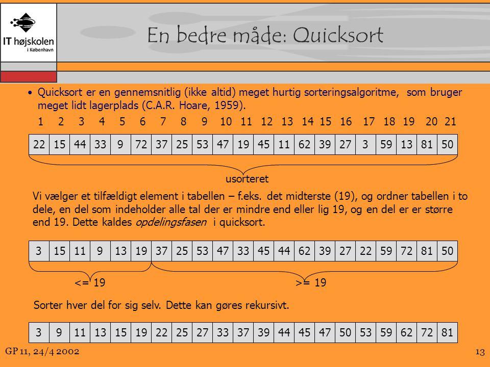 En bedre måde: Quicksort