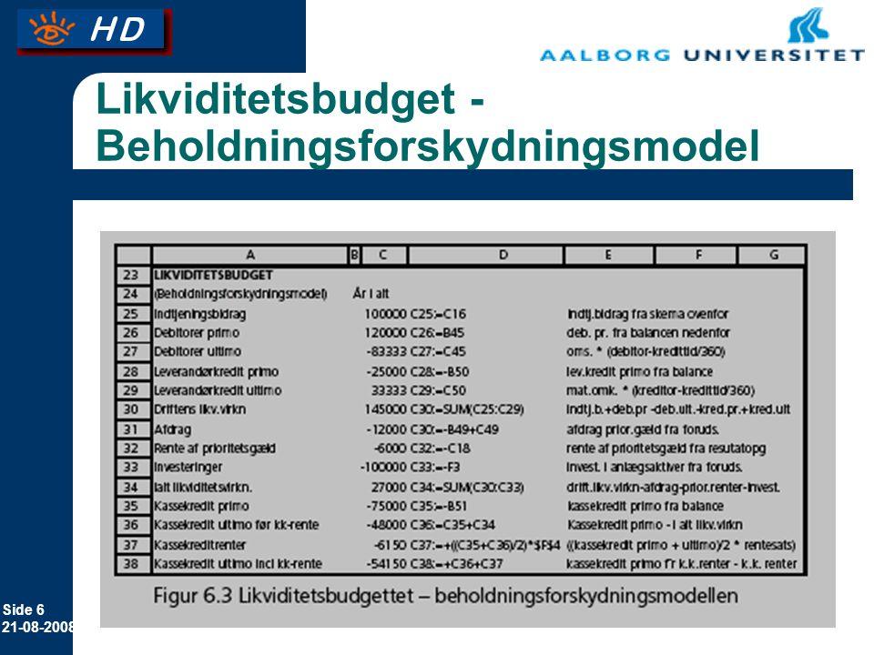 Likviditetsbudget - Beholdningsforskydningsmodel