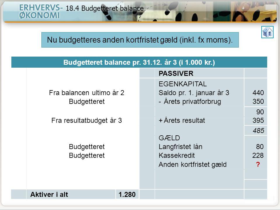 Budgetteret balance pr. 31.12. år 3 (i 1.000 kr.)