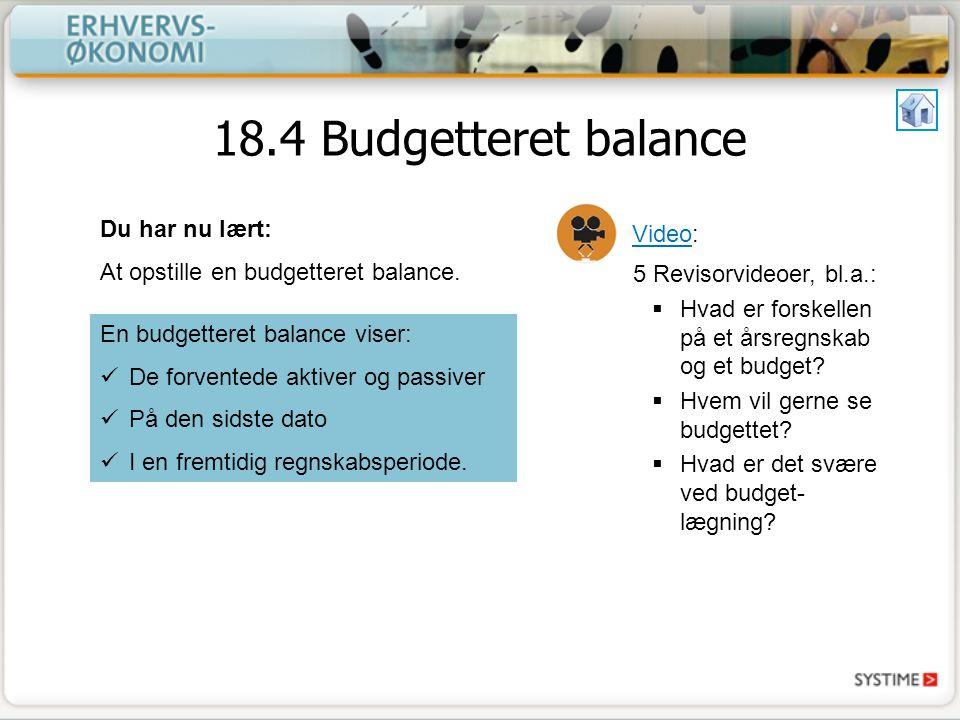 18.4 Budgetteret balance Du har nu lært: