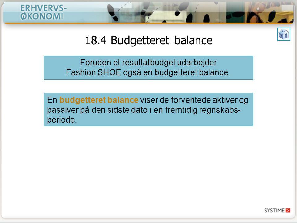 18.4 Budgetteret balance Foruden et resultatbudget udarbejder Fashion SHOE også en budgetteret balance.