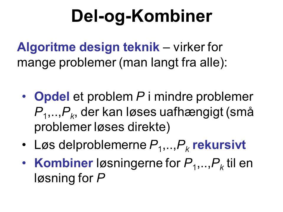 Del-og-Kombiner Algoritme design teknik – virker for mange problemer (man langt fra alle):