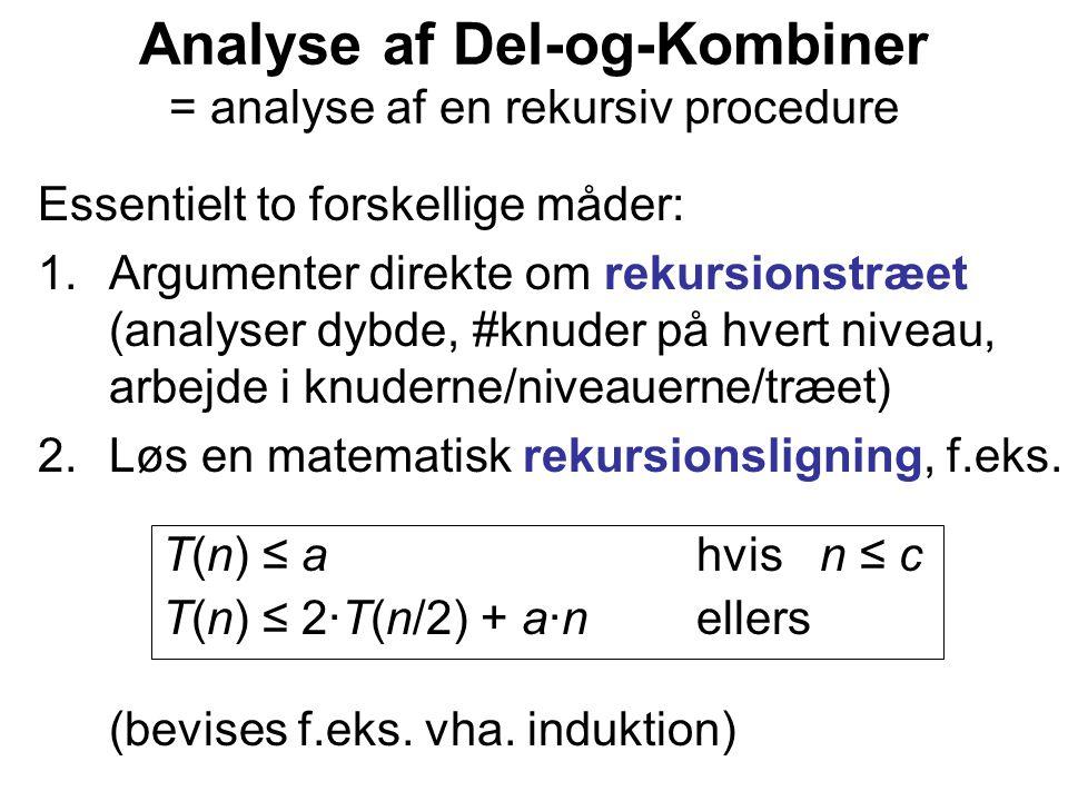 Analyse af Del-og-Kombiner = analyse af en rekursiv procedure