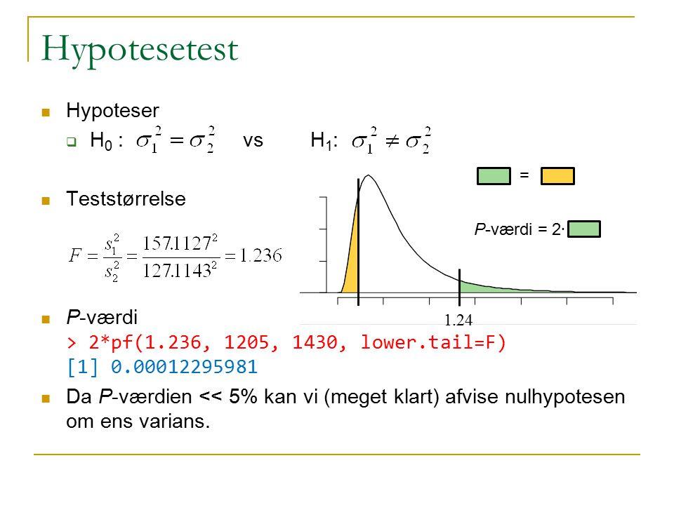Hypotesetest Hypoteser H0 : vs H1: Teststørrelse