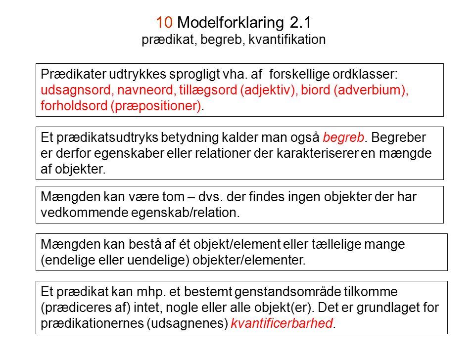 10 Modelforklaring 2.1 prædikat, begreb, kvantifikation