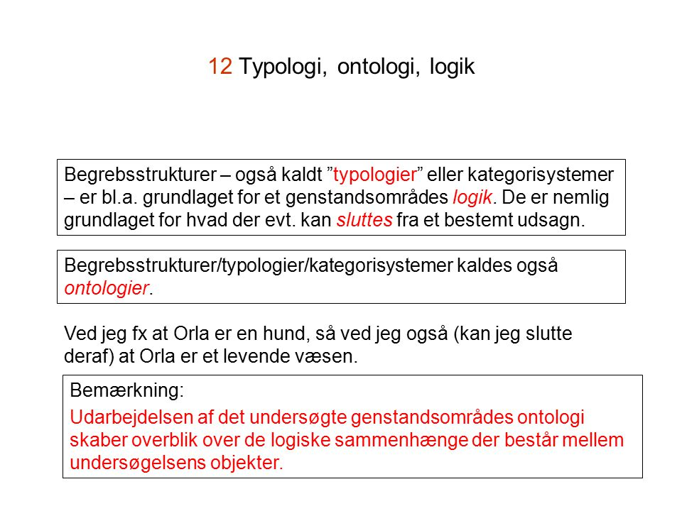 12 Typologi, ontologi, logik