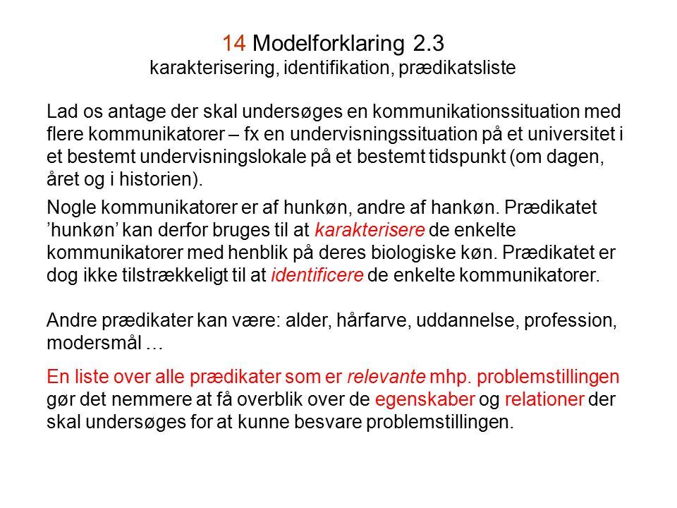 14 Modelforklaring 2.3 karakterisering, identifikation, prædikatsliste