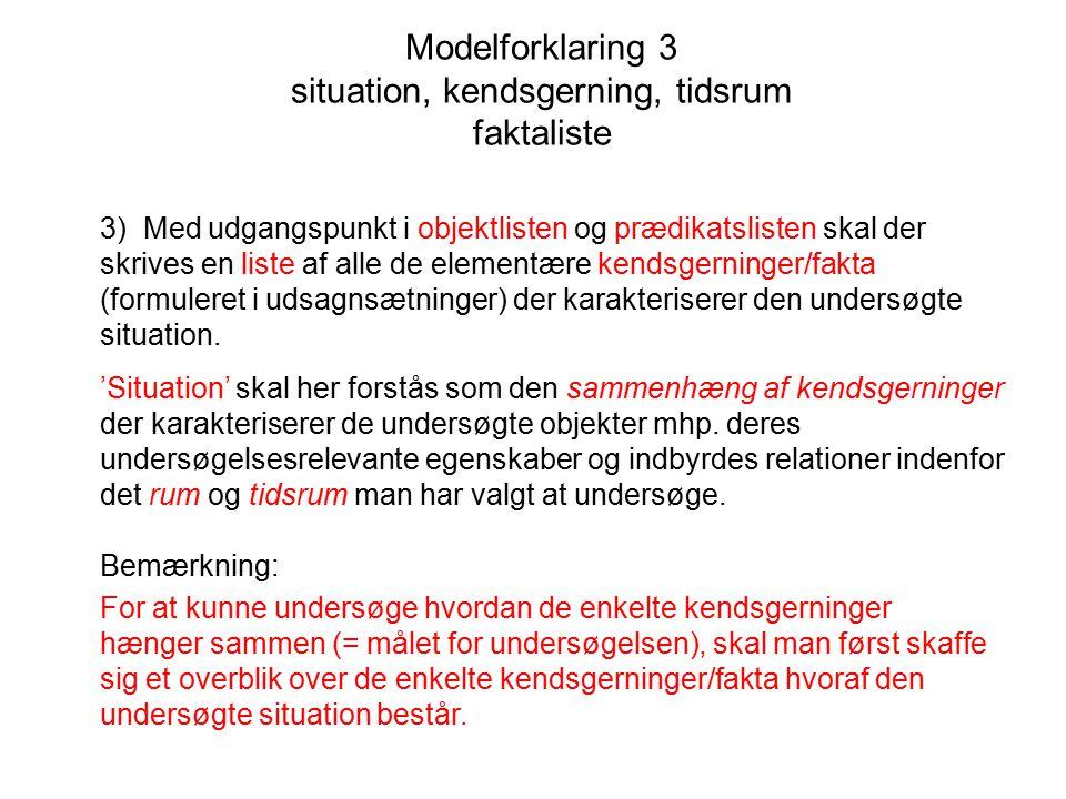 Modelforklaring 3 situation, kendsgerning, tidsrum faktaliste