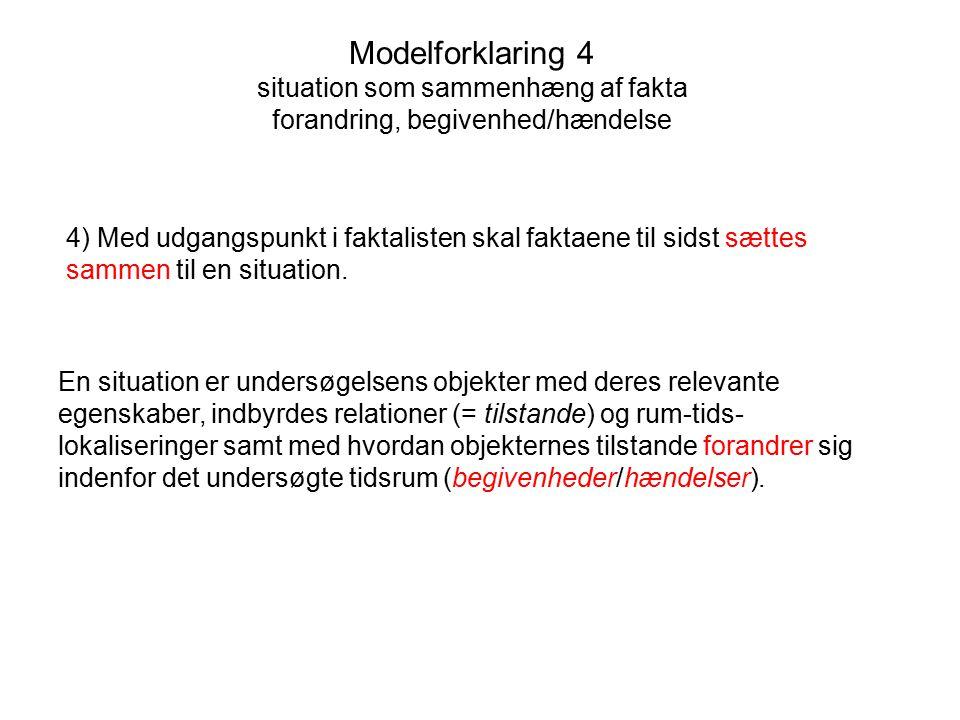 Modelforklaring 4 situation som sammenhæng af fakta forandring, begivenhed/hændelse