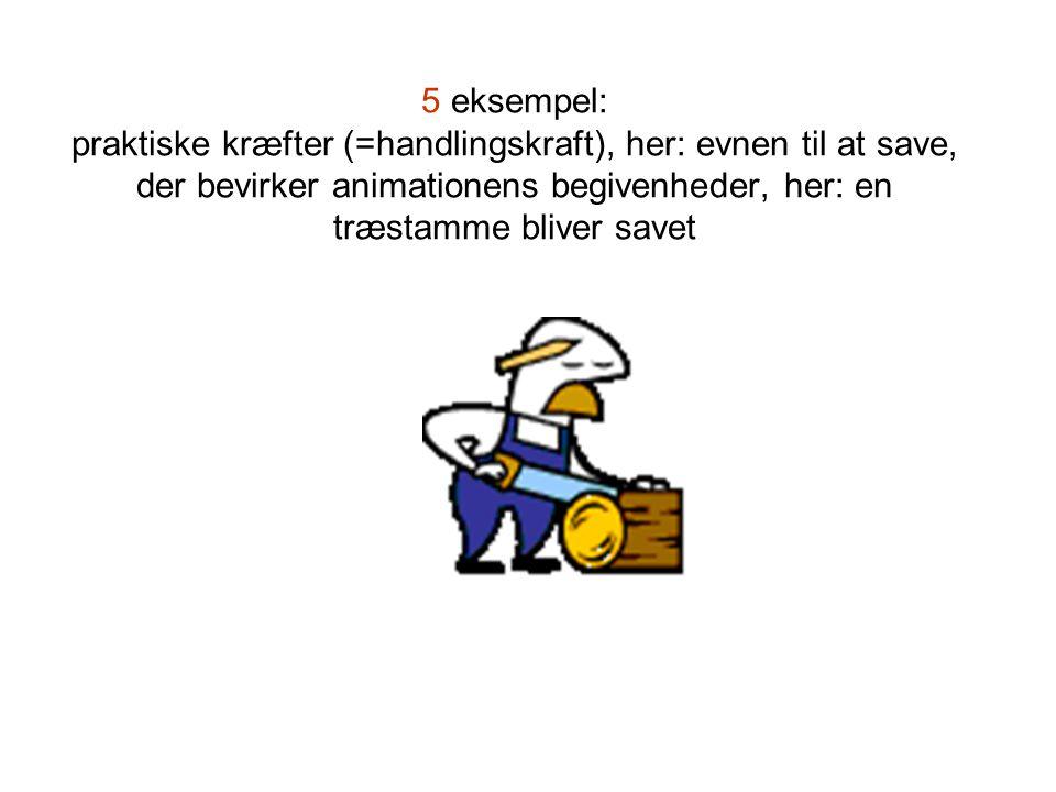 5 eksempel: praktiske kræfter (=handlingskraft), her: evnen til at save, der bevirker animationens begivenheder, her: en træstamme bliver savet