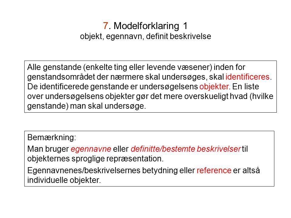 7. Modelforklaring 1 objekt, egennavn, definit beskrivelse