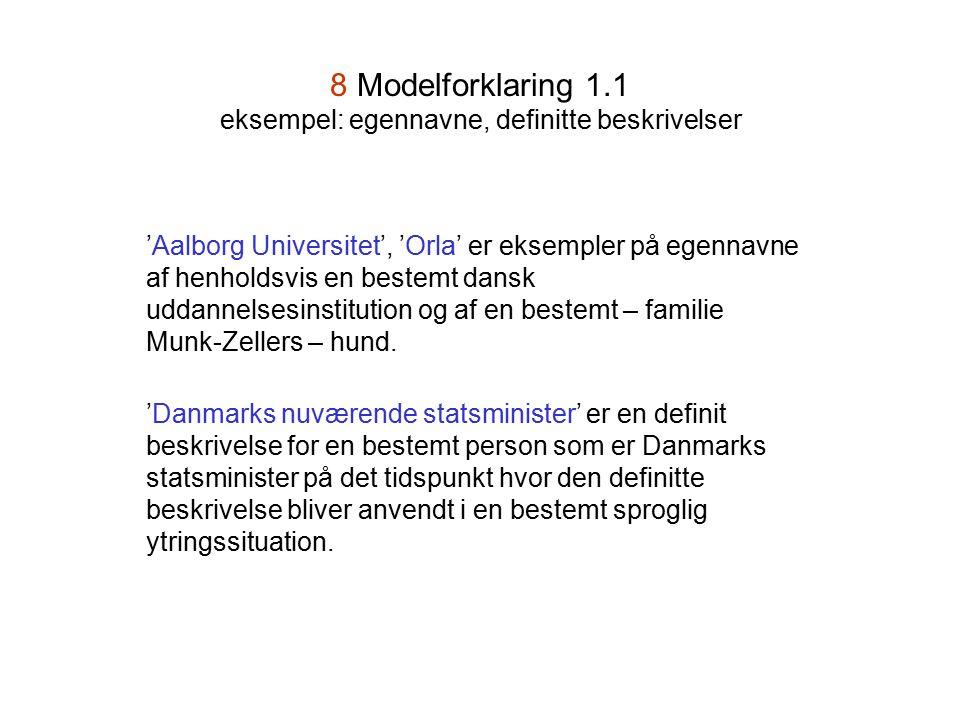 8 Modelforklaring 1.1 eksempel: egennavne, definitte beskrivelser