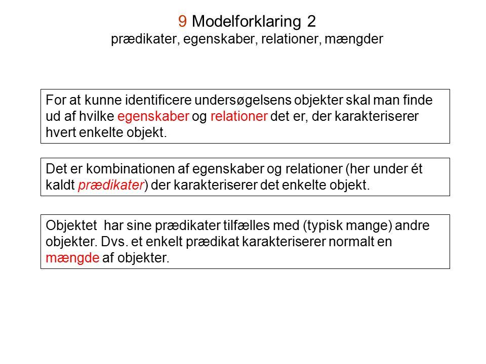9 Modelforklaring 2 prædikater, egenskaber, relationer, mængder