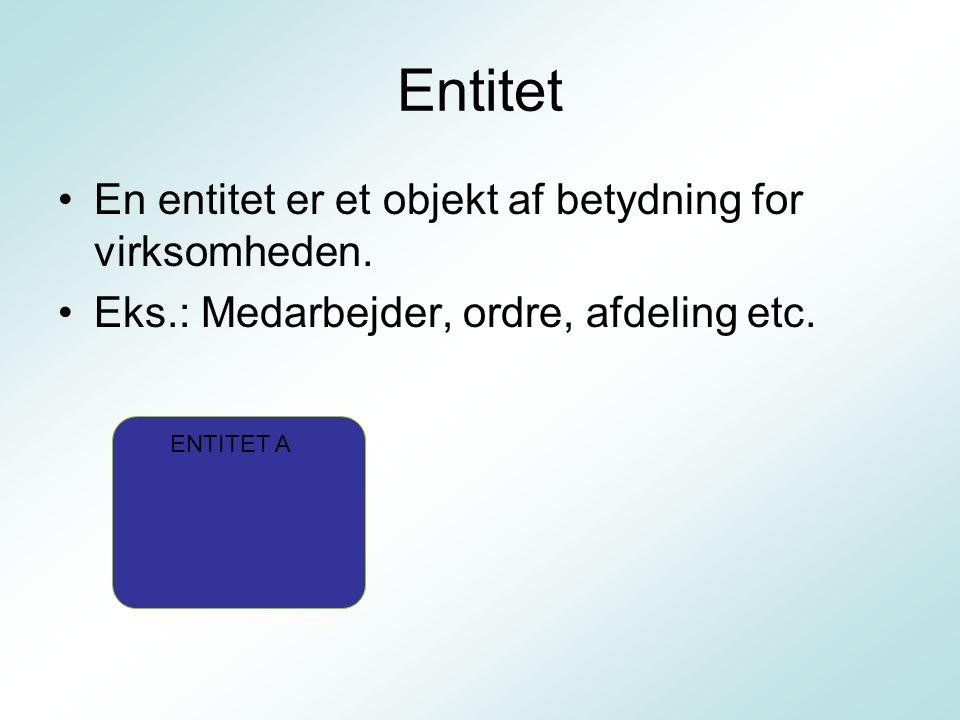 Entitet En entitet er et objekt af betydning for virksomheden.