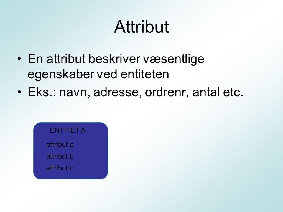 Attribut En attribut beskriver væsentlige egenskaber ved entiteten