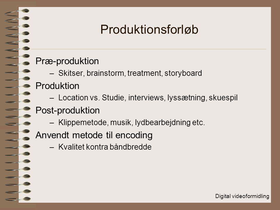 Produktionsforløb Præ-produktion Produktion Post-produktion